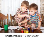 cute boys are painting something | Shutterstock . vector #94547029