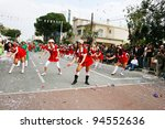 LIMASSOL, CYPRUS - MARCH 6: Unidentified participants in nurse costumes in Cyprus carnival parade on March 6, 2011 in Limassol, Cyprus, established in 16th century, influenced by Venetian traditions. - stock photo