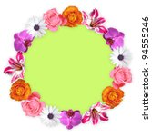 Circle of colorful flowers - stock photo