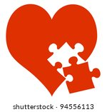 red heart and missing piece | Shutterstock .eps vector #94556113