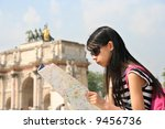 girl with map in paris  at the... | Shutterstock . vector #9456736