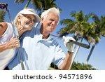 happy senior man and woman... | Shutterstock . vector #94571896