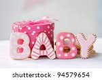 Stock photo baby shower cookies 94579654