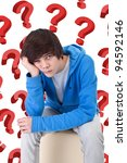 So much questions - teenager boy wondering - stock photo