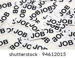 """Job offer, jon interview. Printed paper notes with the word """"Job"""" in black ink - stock photo"""