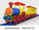 Toy train, 3d image of a colorful locomotive, wagons and railroad - stock photo