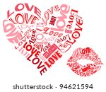 love hearts and kisses | Shutterstock . vector #94621594