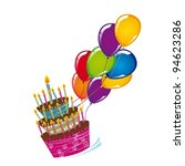 cake with balloons isolated... | Shutterstock .eps vector #94623286