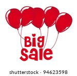 big sale with red balloons... | Shutterstock .eps vector #94623598