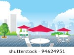 cafe in front of city skyline | Shutterstock .eps vector #94624951