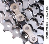 Bike Chain and Rear Cassette of a Mountain Bike - stock photo