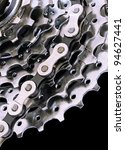 Rear Cassette and Chain of a Mountain Bike - stock photo