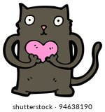 funny black cat with love heart ... | Shutterstock . vector #94638190