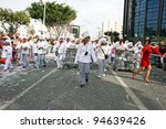 LIMASSOL, CYPRUS - MARCH 6, 2011: Unidentified participants  in chef costumes during the carnival parade, established in 16th century, influenced by Venetian  traditions. - stock photo