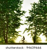 biker silhouette at sunset | Shutterstock . vector #94639666