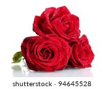 Stock photo three beautiful red roses isolated on white 94645528