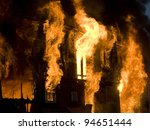 apartment building on fire at... | Shutterstock . vector #94651444