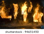 apartment building on fire at... | Shutterstock . vector #94651450