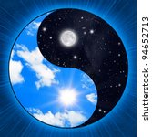 Small photo of Yin yang symbol with clouds and stars