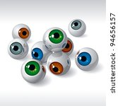 group of eyeballs on white... | Shutterstock .eps vector #94656157
