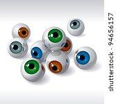 Group Of Eyeballs On White...