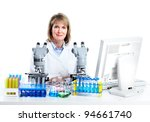 woman working with a microscope ... | Shutterstock . vector #94661740