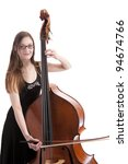 Young woman playing the bass - stock photo