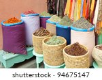 Colorful spices in bags selling at Marrakesh, Morocco market - stock photo