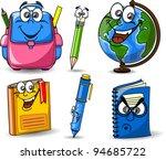 cartoon school bags  pencils ... | Shutterstock .eps vector #94685722