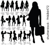 business woman with a bag black ...   Shutterstock .eps vector #94686472
