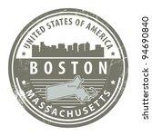 Grunge rubber stamp with name of Massachusetts, Boston, vector illustration