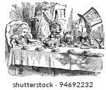 Stock photo mad tea party engraving by john tenniel united kingdom illustration from book alice s 94692232