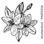 lily flower outline vector... | Shutterstock .eps vector #94692316