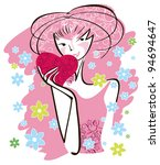 cheerful girl holding a box... | Shutterstock .eps vector #94694647