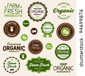set of organic and farm fresh... | Shutterstock .eps vector #94699876