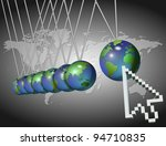 An abstract illustration of a computer arrow and earth / Computer arrow and world - stock photo