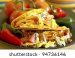 closeup of tacos on plate with... | Shutterstock . vector #94736146