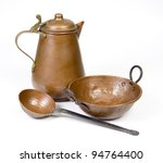 Old Copper Jug  Ladle And Bowl...
