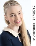 Small photo of Happy teen ager girl smiling portrait in studio