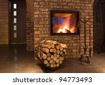 fire wood against a fireplace | Shutterstock . vector #94773493