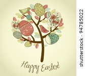 Easter Card With Tree  Eggs An...