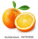 sliced orange fruit with leaves ... | Shutterstock . vector #94795900