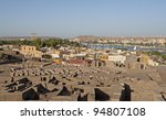 """View of the ancient ruins and the city of """"Assuan"""" in Egypt - stock photo"""