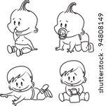 vector illustration of baby boys | Shutterstock .eps vector #94808149