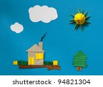 house made of paper over blue... | Shutterstock . vector #94821304