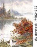 Watercolor Landscape. Pictoria...