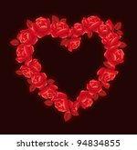 Heart with red roses on a black background - stock photo