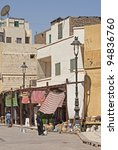 """View of a typical street in the city """"Assuan"""" in Egypt - stock photo"""