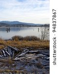 frosty river shore.  a natural... | Shutterstock . vector #94837867