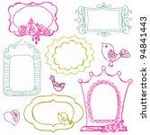 sweet doodle frames with birds...   Shutterstock .eps vector #94841443